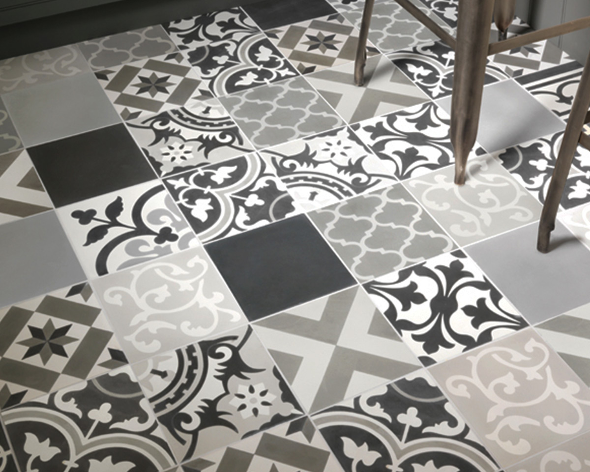 Patchwork Grey Pattern Encaustic Tiles The Stone Floor Company